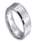 White Tungsten Wedding Ring for Men with Vertical Notches | 8mm