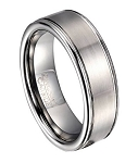 Men's Tungsten Wedding Band with Polished Rounded Edges | 8mm