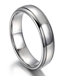 Polished Tungsten Men's Wedding Band with Oval Profile | 7mm