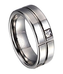 Tungsten Wedding Band with Geometric Design and Offset CZ | 8mm