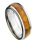 Tungsten Wedding Ring for Men with Koa Wood Inlay and Domed Profile