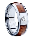 Tungsten Wedding Band for Men with Koa Wood Inlay and CZ