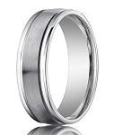 Comfort-Fit Palladium Wedding Band with Spun Satin Finish – 6 mm - MB1160