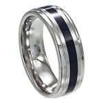 Men's Cobalt Wedding Band with Carbon Fiber Inlay and Polished Edges | 8mm - MCB0100