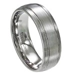 Men's Cobalt Chrome Wedding Band with Satin Finish and Two Grooves | 8mm - MCB0105
