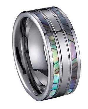 Comfort-fit Tungsten Wedding Ring with Shell Inlay and Satin Finish – 8 mm - MTG0034