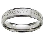 "Stainless Steel Wedding Ring Engraved with ""Endless Love"" 