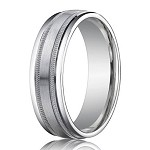 Palladium Wedding Ring with Satin Finished Center, Milgrain D�cor and Polished Edges | 6mm -  MB0183