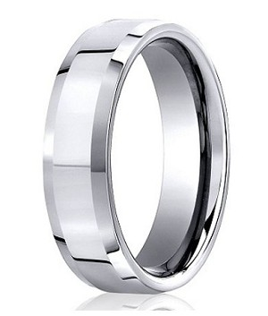 Designer Platinum Wedding Ring with Polished Finish and Beveled Edges | 6mm - MB0193