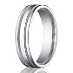 Palladium Men's Wedding Ring with Two Milgrain Bands | 6mm