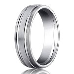 Palladium Wedding Ring with Satin Finish and Two Polished Grooves | 6mm - MB0182
