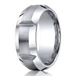 Designer Cobalt Wedding Band with Horizontal Grooves | 10mm