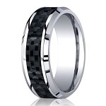 Designer Cobalt Wedding Band with Carbon Fiber Inlay | 8mm
