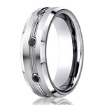 Benchmark Cobalt Wedding Band with Black Diamonds | 7.5mm