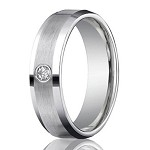 Palladium Diamond Ring with Satin Finish and Polished Edges | 6mm - MB0180