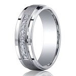 Argentium Sterling Silver Diamond Ring with Satin Finish and 9 Diamonds | 7mm - MBSD1003