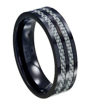 black ceramic wedding ring with gray carbon fiber inlay 8mm - Ceramic Wedding Rings