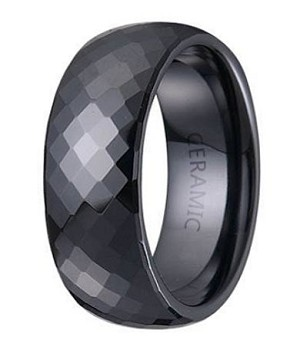 mens black ceramic wedding band with glossy multi faceted domed profile 75mm
