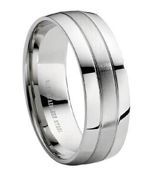 Stainless Steel Wedding Ring with Polished and Brushed Finish – 8 mm - MSS0005