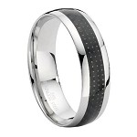 Comfort-fit Stainless Steel Wedding Ring with Black Carbon Fiber Inset and Polished Edges – 8 mm - MSS0108