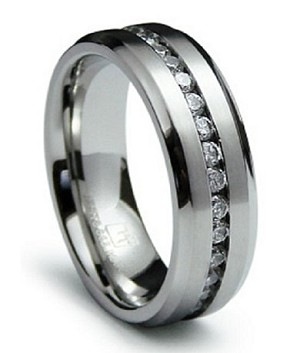 "Men's Stainless Steel ""Eternity"" Wedding Ring with CZs 