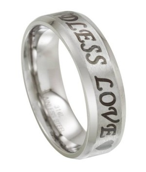 Stainless Steel Men's Wedding Ring Engraved with Endless Love | 6mm
