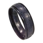 Men's Black Stainless Steel Ring with Swirling Design | 8mm
