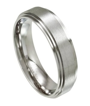 Mens Stainless Steel Wedding Ring With Polished Step Down Edges