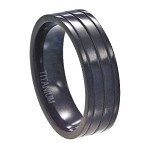 Black Ridged Titanium Wedding Band - MT0107