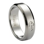 Satin Finished Titanium Ring with Polished Cross and Polished Beveled Edges | 6mm - MT0180