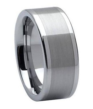 Comfort-fit Tungsten Carbide Wedding Ring with Brushed and Polished Finish – 8 mm MTG0006