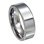 Tungsten Wedding Band with Flat Profile and Polished Finish | 8mm