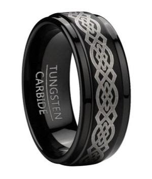 Polished Black Tungsten Wedding Band with Celtic Knot Design | 9mm