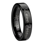 Men's Polished Black Tungsten Wedding Band with Love Forever | 6mm