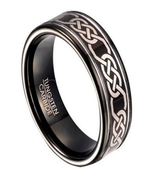 celtic knot black tungsten wedding band for men 8mm
