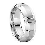 Stainless Steel Notched Wedding Ring with Brushed Finish and Polished Beveled Edge – 7 mm - MSS0013