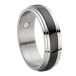 Comfort-fit Magnetic Stainless Steel Wedding Ring with Black Enamel Inset and Polished Ridged Edges – 8 mm - MSS0091