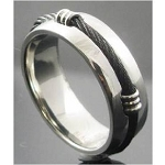 Stainless Steel and Black Cable Ring - MSS0174