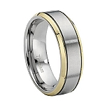 Titanium Wedding Band with Gold-Plated PVD Edges and Polished Finish - MT0100