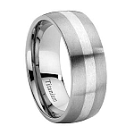 Titanium Wedding Band with Silver Center and Brushed Finish – 9 mm - MT0102