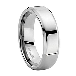 Comfort-fit Titanium Wedding Ring with Beveled Edges and Polished Finish – 7 mm - MT0106