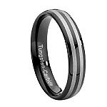 Comfort-fit Tungsten Wedding Ring with Black and Silver Bands – 6 mm - MTG0008