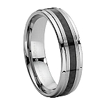Comfort-fit Tungsten Carbide Wedding Ring with Carbon Fiber Inset and Polished Finish - 8 mm - MTG0012