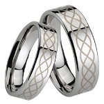 Comfort-fit Tungsten Wedding Band with Lasered Scroll Design and Polished Finish – 7 mm - MTG0022