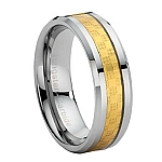 Comfort-fit Tungsten Wedding Ring with Gold Carbon Fiber Inlay and Polished Finish – 8 mm - MTG0025