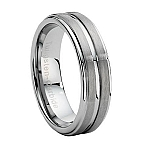 Comfort-fit Carved Tungsten Wedding Ring with Brushed and Polished Finish – 7.2 mm - MTG0026