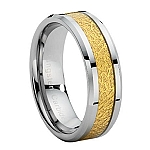 Comfort-fit Tungsten Wedding Ring with Gold Carbon Fiber Inlay and Polished Finish – 8 mm - MTG0027