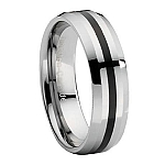 Comfort-Fit Tungsten Wedding Ring with Beveled Edges and Black Enamel Stripe - Polished Finish – 8 mm - MTG0049