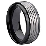 Tungsten and Black Ceramic Ring 9 mm - MTGC0001