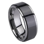 Black Ceramic Coated Men's Tungsten Ring with Polished Edges – 8mm - MTGC0044